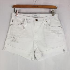 Pistola White Denim Distressed Shorts Raw Hem 28